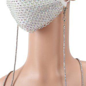 Crystal Beaded Mask Holder Necklace Lanyard